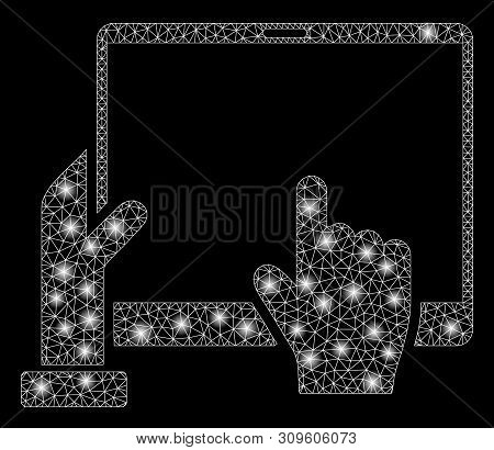 Glowing Mesh Hand Points Pda With Glow Effect. Abstract Illuminated Model Of Hand Points Pda Icon. S