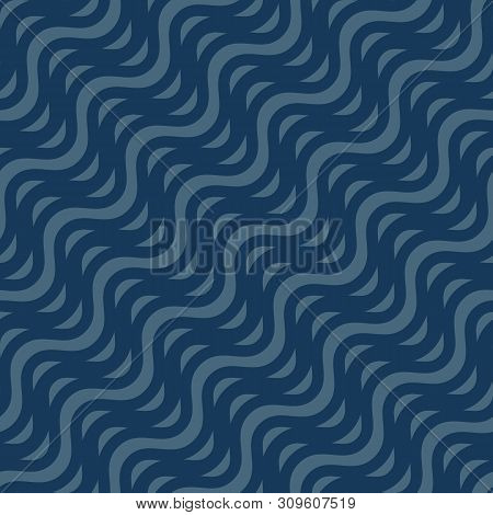 Vector Seamless Pattern, Diagonal Wavy Lines, Curved Stripes, Waves. Simple Dark Blue Background. Ab