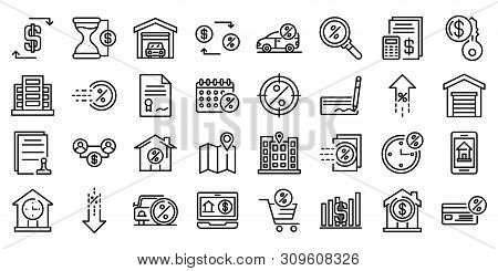 Lease Icons Set. Outline Set Of Lease Vector Icons For Web Design Isolated On White Background