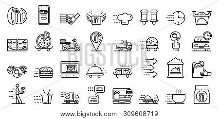 Food Delivery Service Icons Set. Outline Set Of Food Delivery Service Vector Icons For Web Design Is