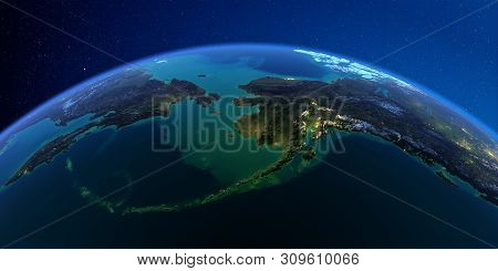 Planet Earth With Detailed Exaggerated Relief At Night Lit By The Lights Of Cities. Chukotka, Alaska