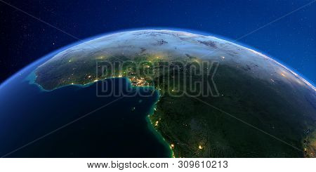 Planet Earth With Detailed Exaggerated Relief At Night Lit By The Lights Of Cities. Africa. Countrie