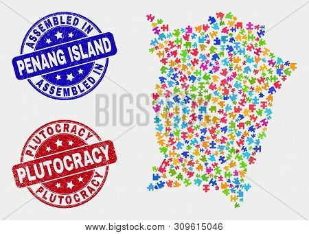 Module Penang Island Map And Blue Assembled Seal Stamp, And Plutocracy Distress Seal Stamp. Colored
