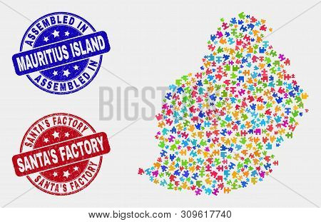 Assemble Mauritius Island Map And Blue Assembled Seal Stamp, And Santa's Factory Textured Seal Stamp