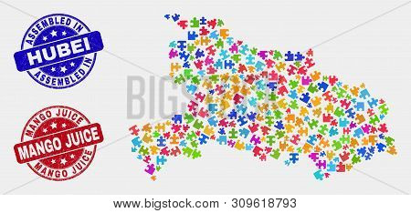 Puzzle Hubei Province Map And Blue Assembled Seal Stamp, And Mango Juice Distress Seal. Bright Vecto