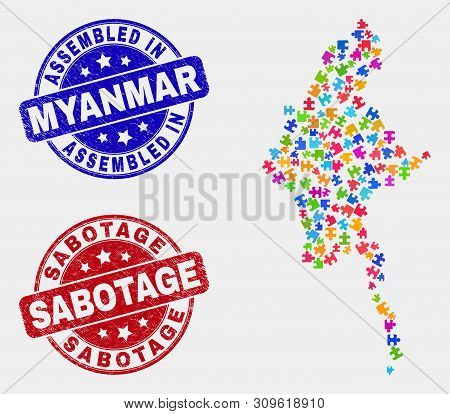 Element Myanmar Map And Blue Assembled Stamp, And Sabotage Textured Seal Stamp. Bright Vector Myanma