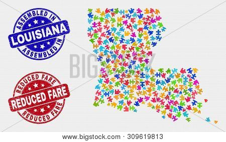 Constructor Louisiana State Map And Blue Assembled Seal, And Reduced Fare Scratched Watermark. Color