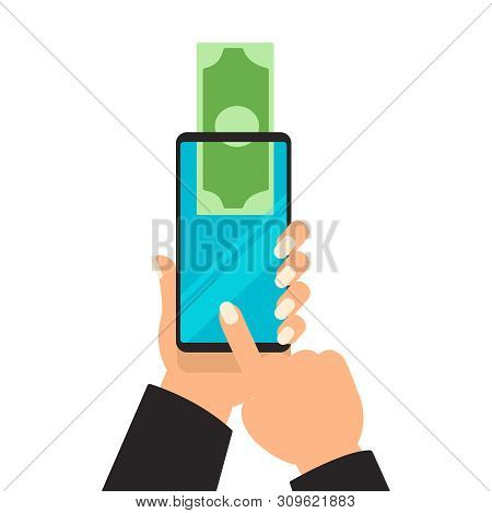 Business Hands Sending Money Wireless Mobile Phones. Vector Digital Mobile Wallet Vector Concept Ico