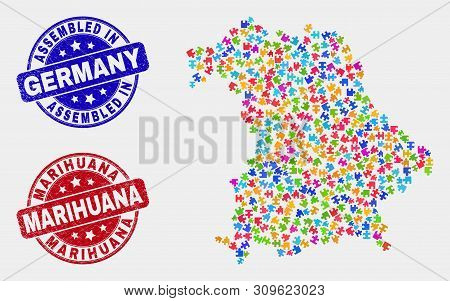 Element Germany Map And Blue Assembled Seal Stamp, And Marihuana Grunge Seal Stamp. Colorful Vector