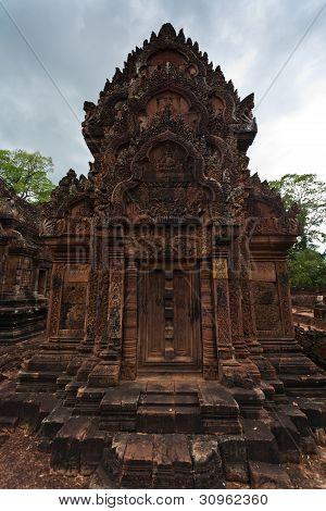 Ornately Carved Temple At Angkor Wat