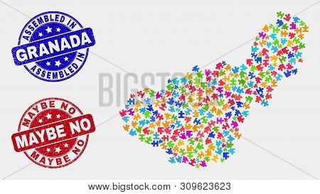Assemble Granada Province Map And Blue Assembled Stamp, And Maybe No Distress Stamp. Colorful Vector