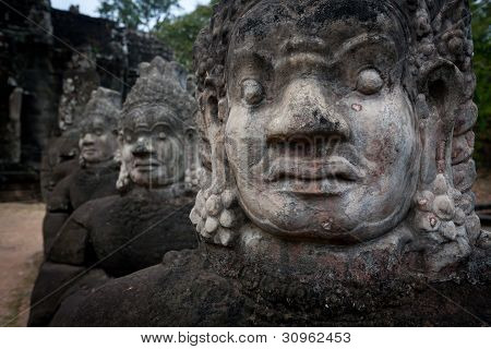 Face Of Demon Statues At Angkor Temple