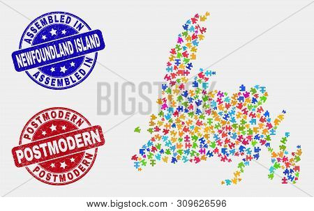 Puzzle Newfoundland Island Map And Blue Assembled Seal Stamp, And Postmodern Grunge Seal. Colorful V