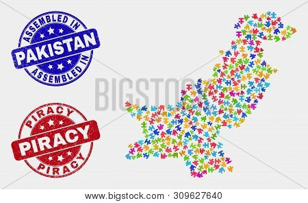 Bundle Pakistan Map And Blue Assembled Seal, And Piracy Scratched Seal Stamp. Bright Vector Pakistan