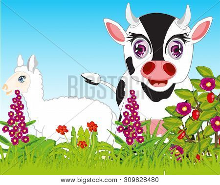 Pets Animals On Year Glade With Flower