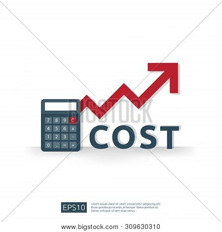 Cost Fee Spending Increase With Red Arrow Rising Up Growth Diagram. Business Cash Reduction Concept.