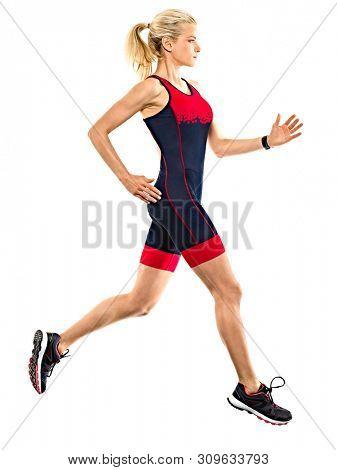 one caucasian woman practicing triathlon triathlete ironman runner running jogger jogging in studio shot isolated on white background poster