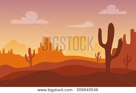 Desert Sunset Silhouette Landscape. Arizona Or Mexico Western Cartoon Background With Wild Cactus, C