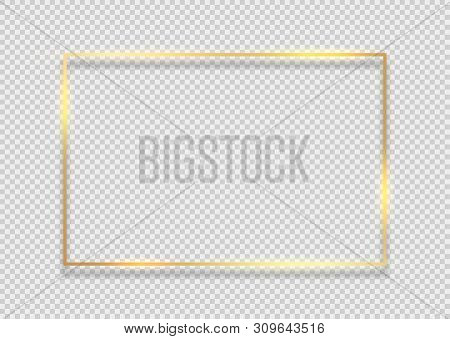 Gold Frame Square Background. Golden Frame Line With Light Glow Flare Magic Graphic Effect Design