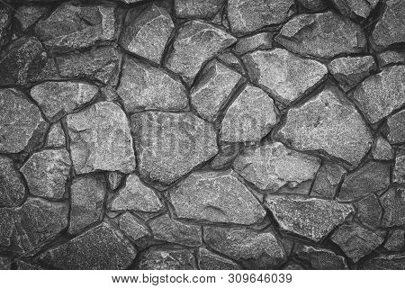 Vintage Pattern Stone Background. Abstract Gray Grunge Texture. Grey Granite Surface, Floor. Old Sto