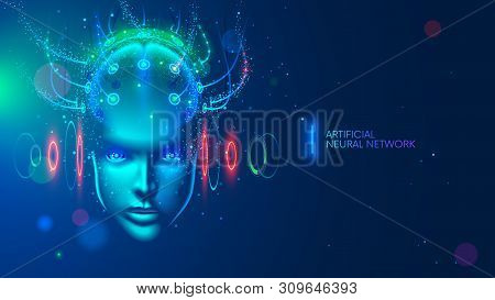 Artificial Intelligence Concept Illustration. Head, Face With Cybernetic Digital Brain, Neural Netwo