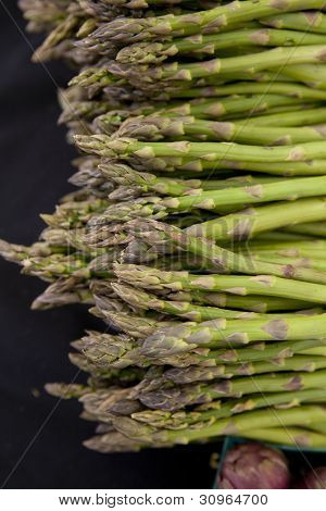 Freshly Harvested Organic Asparagus Spears With Purple Artichokes