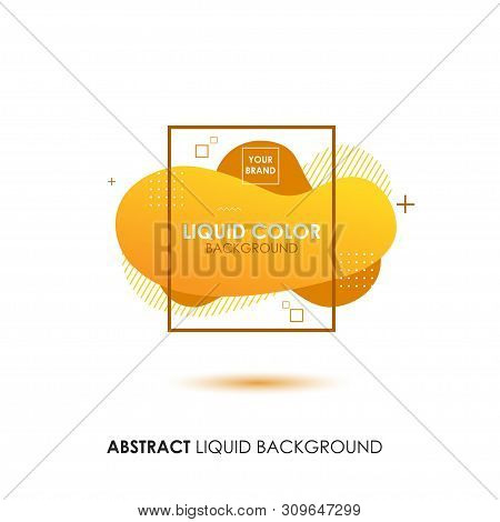 Abstract Liquid Yellow Color Banner With Line Frame And Brand Placing Logo