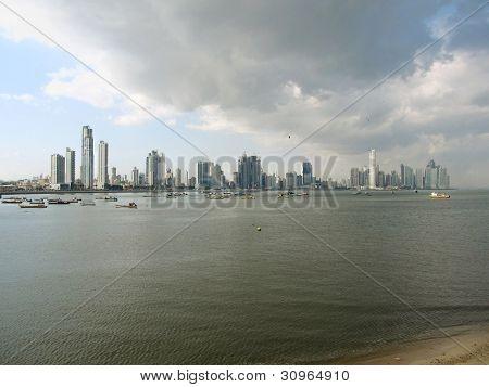 Panama, Panama City modern Pacific waterfront at sunset
