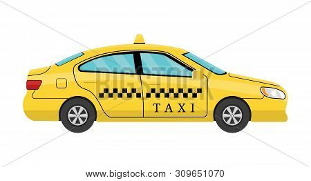 Car Taxi Isolated On White Background. View From Side. Taxi Yellow Car Cab Isolated On White Backgro