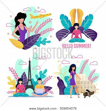 Illustrations Set Devoting To Summer Vacation And Europe Voyage. Cartoon Flat People Characters Doin