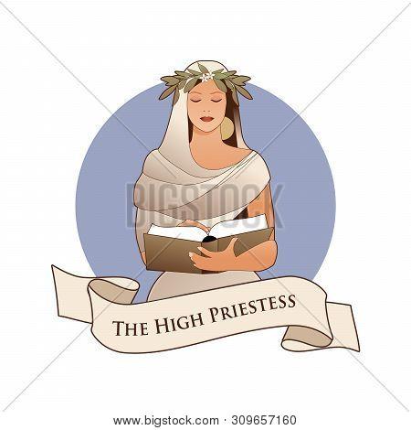 Major Arcana Emblem Tarot Card. The High Priestess With A Laurel Wreath Reading A Book Isolated On W
