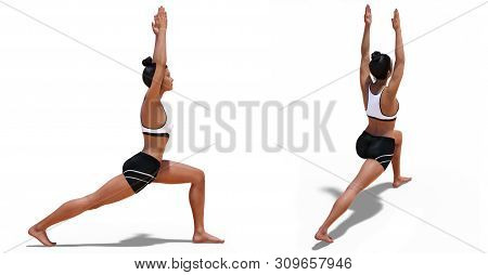 3d Illustration Of Back Three-quarters And Right Profile Poses Of A Woman In Yoga Warrior One Pose W