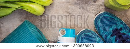 Banner, Long Format Everything For Sports Turquoise, Blue Shades On A Wooden Background And Spinach
