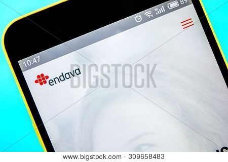 Berdyansk, Ukraine - April 6, 2019: Illustrative Editorial Of Endava Website Homepage. Endava Logo V