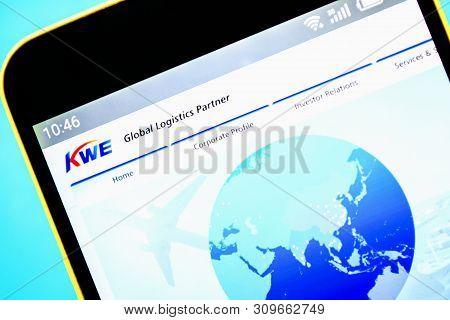 Berdyansk, Ukraine - April 6, 2019: Illustrative Editorial Of Kwe Website Homepage. Kwe Logo Visible
