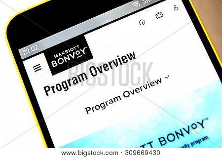 Berdyansk, Ukraine - April 9, 2019: Illustrative Editorial, Marriott International Bonvoy Website Ho