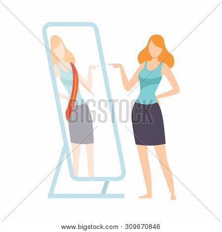 Narcissistic Woman Character Looking At Mirror Pretend To Be Successfull, Girl Overestimate Herself,