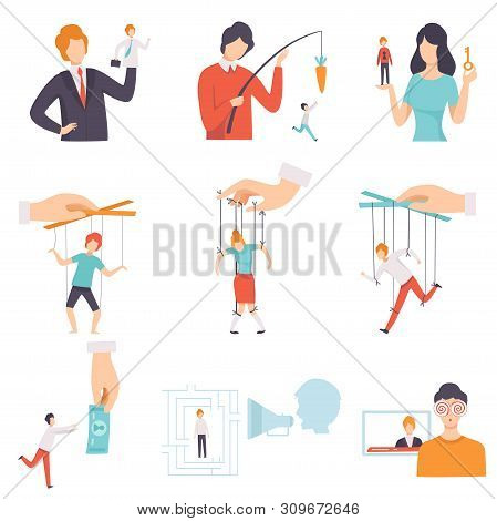 Manipulation Of People Set, Puppet People Controlled By Others Vector Illustration