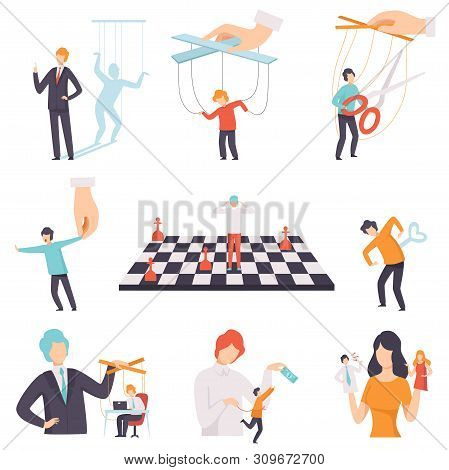 Manipulation Of People Set, Marionette People On Ropes Controlled By Others Vector Illustration
