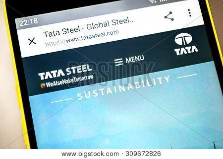 Berdyansk, Ukraine - April 9, 2019: Illustrative Editorial Of Tata Steel Website Homepage. Tata Stee