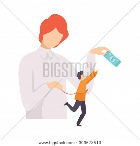 Businessman Manipulating Man With Money And Rope, Controll, Manipulation Of People Concept Vector Il