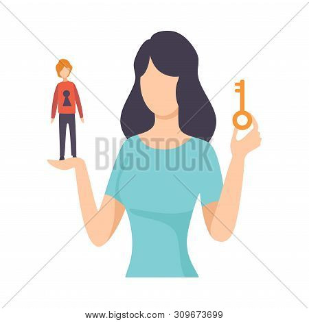 Young Woman Holding Key And Tiny Man With Keyhole, Young Woman Manipulating Man Like Marionette, Man
