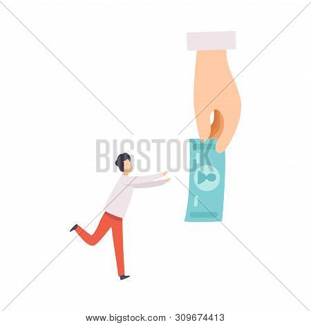 Businessman Manipulating Man With Money, Controll, Manipulation Of People Concept Vector Illustratio