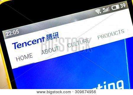 Berdyansk, Ukraine - April 9, 2019: Tencent Holdings Website Homepage. Tencent Logo Visible On The P