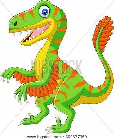 Vector Illustration Of Cartoon Green Velociraptor On White Background