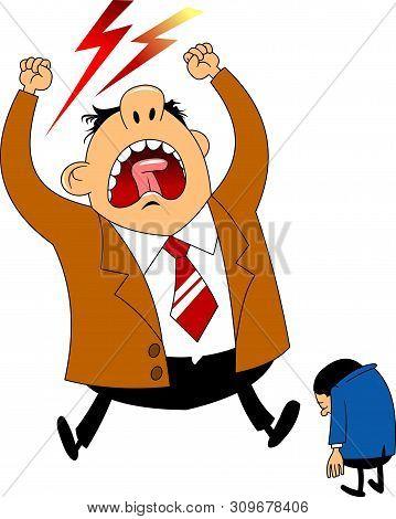 Big Boss Angry Businessman Was Asleep During Work. Cartoon Vector Illustration