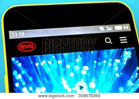 Berdyansk, Ukraine - April 11, 2019: Byd Website Homepage. Byd Logo Visible On The Phone Screen.