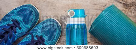 Banner, Long Format Everything For Sports Turquoise, Blue Shades On A Wooden Background. Yoga Mat, S