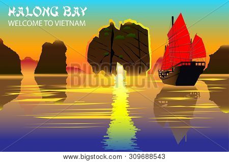 Halong Bay. A Beautiful Natural Wonder In Northern Vietnam Near The Chinese Border. Vector Pictures