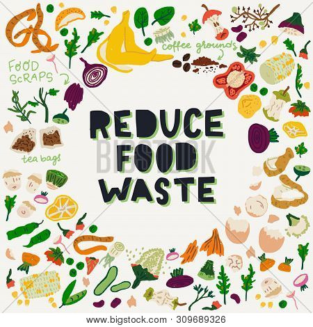 Reduce Food Waste Hand Lettering Call To Action In A Frame Made Of Food Scraps. Eco-friendly Zero Wa
